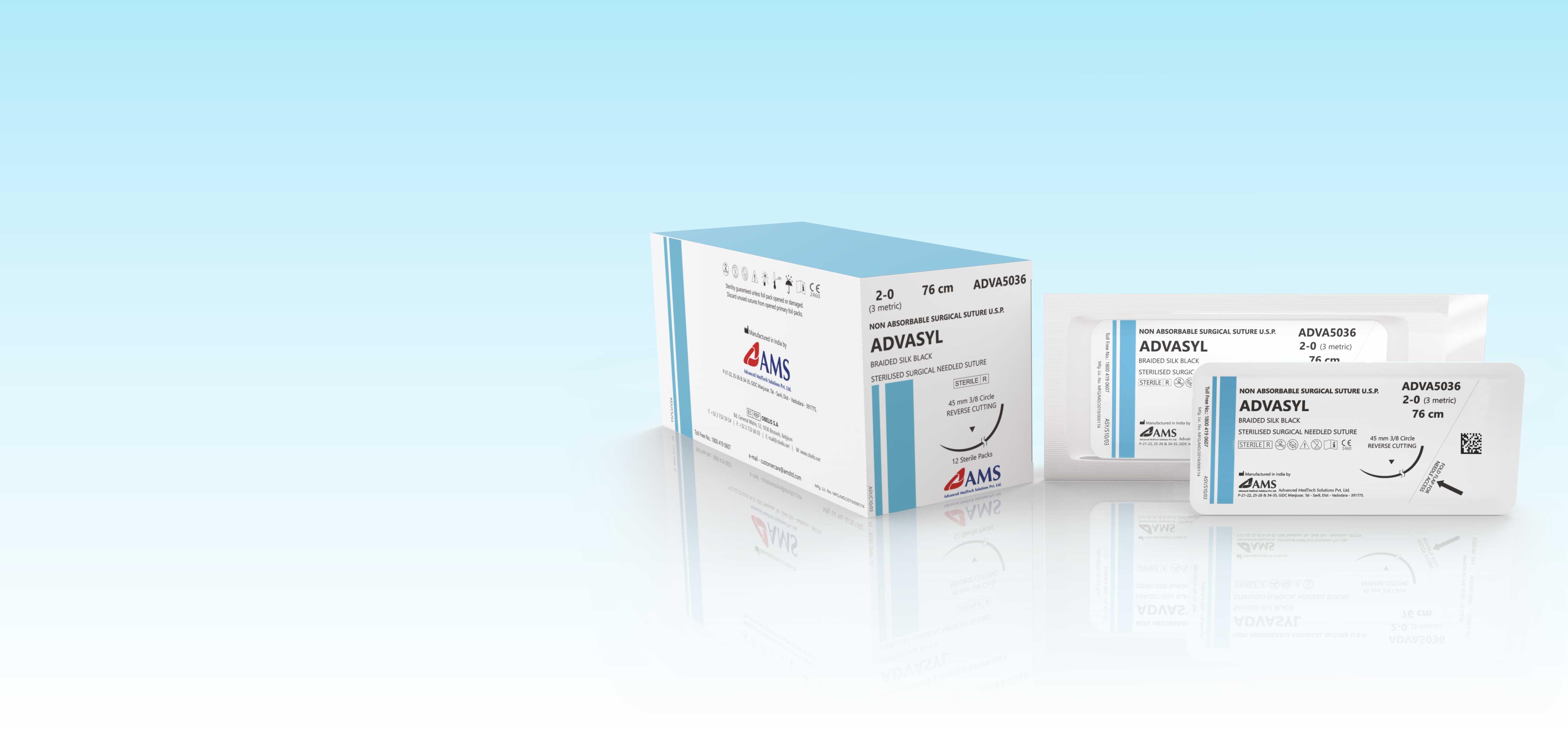 ADVASYL <span>Proteinaceous silk fibres called fibroin </span><small>Braided Natural Non-Absorbable Surgical Suture</small>